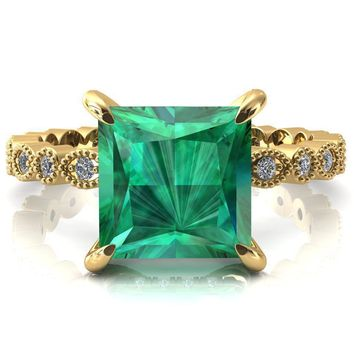 Lizette Princess Emerald 4 Claw Prong 3/4 Eternity Milgrain Diamond Shank Engagement Ring