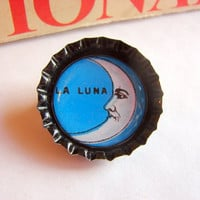 Buy 2 Sale Bottlecap Pin - Loteria Card - La Luna Crescent Moon - Paper and Resin Bottle Cap Brooch