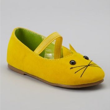 Vintage Inspired Girls Clothes Little Girls Yellow Cat Mary Janes shoes | Vindie Baby