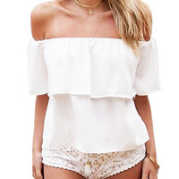 Off Shoulder Flounce Chiffon Top in White
