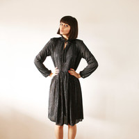 Black sparkle retro dress Glamorous sheer dress with small cord bow in the front vintage 70s (M)