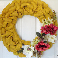 Burlap Wreath, Wreath, Floral Wreath, Yellow Burlap, Yellow Floral Wreath, Year Round Wreath, Door Decor, Door Wreath, Wreaths