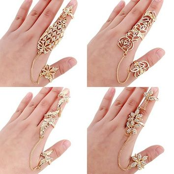 Womens Flower Leaves Rhinestone Full Finger Slave Chain Joint Knuckle Ring