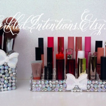 Rhinestone Acrylic Lipstick Holder & Makeup Brush Cup Set