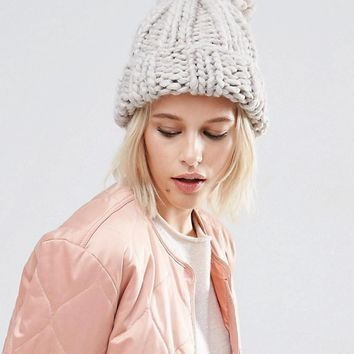 ASOS Extra Chunky Beanie with Extra Large Pom at asos.com