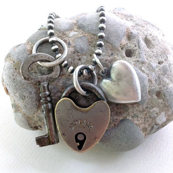 Antique Mallory Wheeler Padlock Key Sterling Heart Charm Necklace Long Sterling Ball Chain Mixed Metal