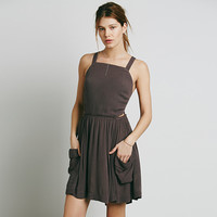 Strappy Shirtwaist Pleated Mini Dress with Pockets