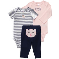 Carter's Girls 3 Piece Kitty Turn Me Around Set with Long Sleeve Bodysuit, Short Sleeve Bodysuit, and Pant