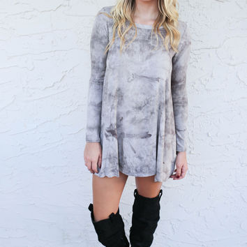 Oregon Ash Long Sleeve Ribbed Tie Dye Dress