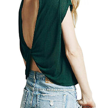Green Draped V-back Top not available