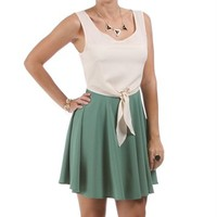 SALE-Ivory/Green Tie Front Dress