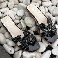 Hermes 2018 New Summer Slippers Flat H-type Sandals Black