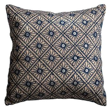 Rizzy Home Mirrored Discs Blue Cotton and Jute 20-inch Decorative Filled Throw Pillow | Overstock.com Shopping - The Best Deals on Throw Pillows