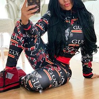 GUCCI Newest Fashion Women Casual Print Top Pants Trousers Set Two-Piece Sportswear