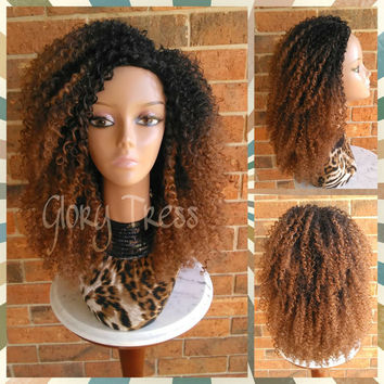 ON SALE // 3C Kinky Curly Half Wig, Ombre Auburn Wig, Big Curly Afro Wig, African American Wig // AMAZED