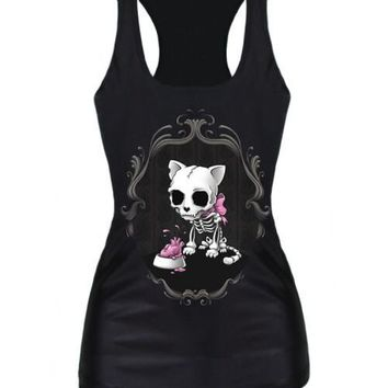 knitting Drop Shipping summer new 2016 women t-shirt RIBS 3D Vest tops Skull bone Camisole Sexy Tank top Despicable Me