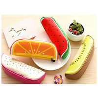 Fruit Slice Pencil Bag, Zipper Case, Pen Pouch, Watermelon, Orange, Kiwi, School Supplies, Gift, Surprise Filled Option