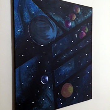 Acrylic Galaxy Painting Glows In The Dark