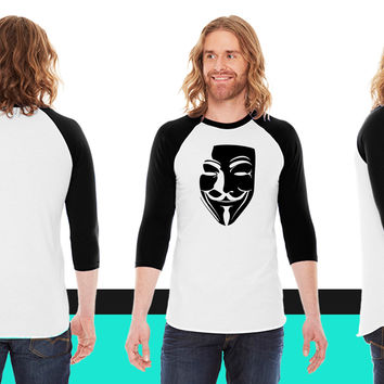 V for Vendetta American Apparel Unisex 3/4 Sleeve T-Shirt