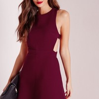 Missguided - Textured Neoprene Cut Out Skater Dress Burgundy