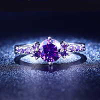 White Gold Plated Rings Purple Amethyst CZ Diamond Jewelry Engagement Bague Bijoux Wedding Rings