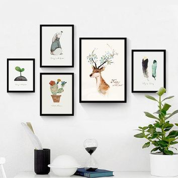 Modern Cute Water Color Canvas Art Poster