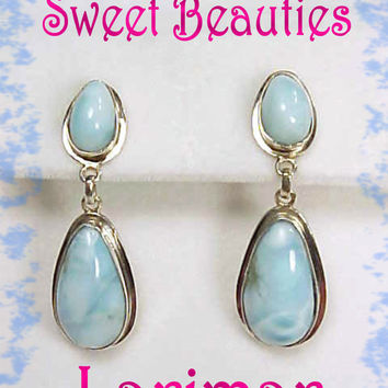 Larimar ~ Caribbean Blue Sterling Silver Earrings ~ Caribbeans Scarcest Gemstone - FREE SHIPPING
