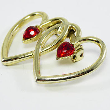 Interlocking Hearts Pin with Red Rhinestone Centers, AS IS Recycle, ReUse Valentines Day Jewelry, Vintage 1950s 1960's Figural Heart