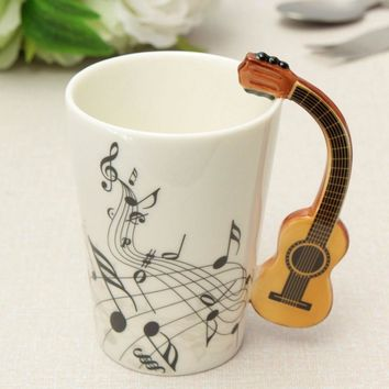 220ml Novelty Guitar Ceramic Cup Personality Music Note Milk Juice Lemon Mug Coffee Tea Cup Home Office Drinkware Unique Gift