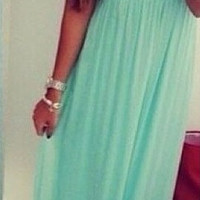 Green V-Neck Chiffon Maxi Dress