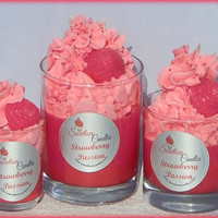 Strawberry Passion Luxury Soy Cupcake Candle