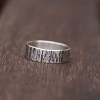 Unisex Bark Ring | Wide Band, Textured Sterling Silver
