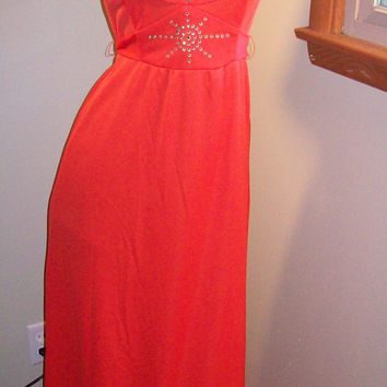 Vintage 70s Amazing Bright Orange Floor Length Cocktail Disco Dress  / Sexy Keyhole Neckline / Rhinestone Studed Starburst Accent