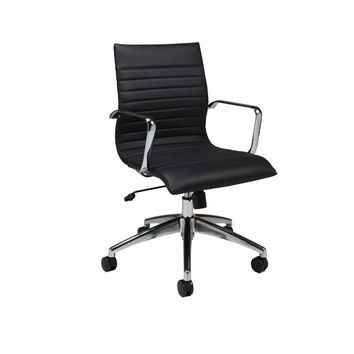 Janette Office Chair in chrome/aluminum upholstered in Pu Black
