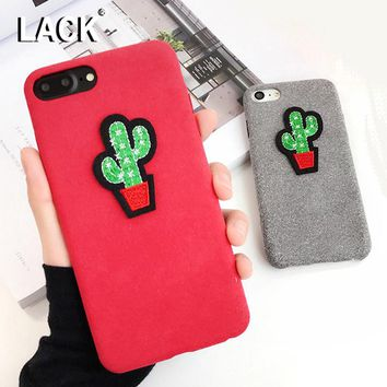 LACK Luxury  DIY Warm Fuzzy Case For iphone 6 Case Lovely Cartoon Embroidery Cactus Cover Phone Cases For iphone 6S 6 Plus NEW