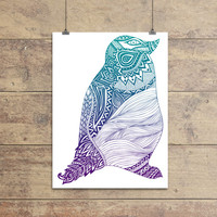 Poster Print 8x10 - Duotone Penguin - For Your Home Decor