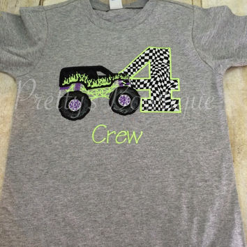 Monster Truck Birthday Shirt any age you can pick colors and fabrics