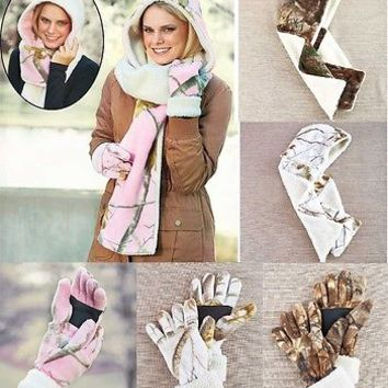 Women's Realtree Cold Weather Camo Warm Hooded Scarf or Fuzzy Fleece Gloves