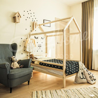 Wood bed, bed house, house bed, children bed, toddler bed, children furniture, nursery crib, baby bed, montessori kids teepee frame bed LEGS