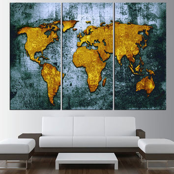 large World Map Canvas wall art, Large from ArtCanvasShop on Etsy
