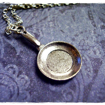 Silver Frying Pan Necklace - Antique Pewter Frying Pan Charm on a Delicate 18 Inch Silver Plated Cable Chain