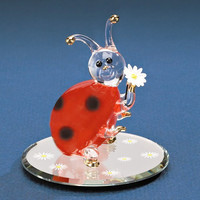 Small Daisy Ladybug Glass Figurine w/ 22k Gold Trim
