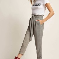 Houdstooth Paperbag-Waist Pants