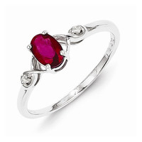Sterling Silver Rhodium Plated Diamond And Ruby Oval Ring