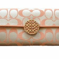 Coach Envelope Style Large Clutch Wallet - Khakhi Peach #46765