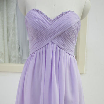Short Chiffon Bridesmaid dress Sweetheart Prom Gown pale lavender purple cocktail dress Hand-Beading Sequins Dresses