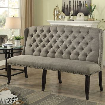 Tufted High Back 3-Seater Love Seat Bench With Nailhead Trims, Light Gray