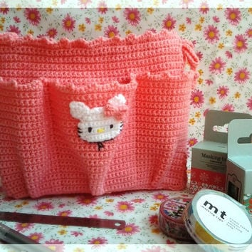Free shipping, Pink crocheted bag