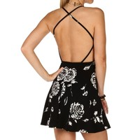 Sale-floral X-back Skater Dress