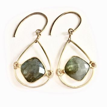 Sophia Labradorite Oval Earrings